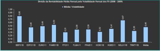 Rentabilidade Mensal x Volatilidade Mensal dos FII (2008 - 2009)